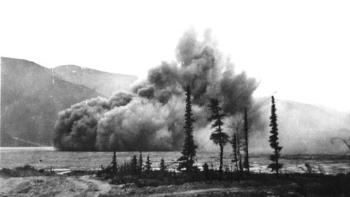 """Blasting operations beside Muncho Lake, British Columbia."""