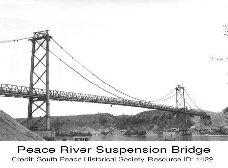 Historic Peace River Suspension Bridge Alaska Highway British Columbia